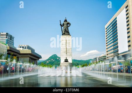The statue of Admiral Yi Sun Sin in Gwanghwamun Square in Seoul, South Korea. - Stock Photo