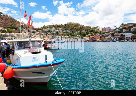 View of the Carenage natural harbour, St George, Grenada, West Indies - Stock Photo