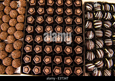 Box of handmade chocolate truffles from Rhebs Candy June 18, 2014 in Baltimore, Maryland. Rhebs Candy has been a - Stock Photo
