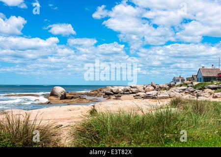 Punta del Diablo Beach, popular tourist place in Uruguay - Stock Photo