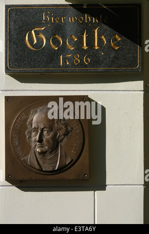 Memorial plaque on the house where German writer Johann Wolfgang von Goethe stayed in Karlovy Vary, Czech Republic. - Stock Photo