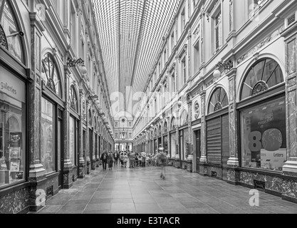 BRUSSELS, BELGIUM - JUNE 16, 2014: Royal Galeries of st. Hubert. The galleries was opened in year 1846. - Stock Photo