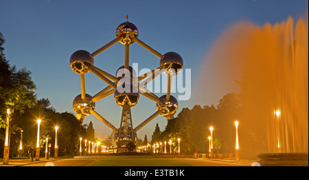 BRUSSELS, BELGIUM - JUNE 16, 2014: Atomium with the at dusk. Modern building was originally constructed for Expo - Stock Photo