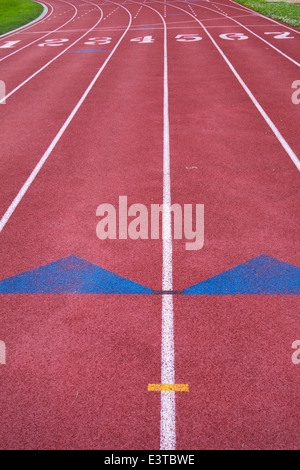Markings and arrows on a running track, Pittsburgh, Pennsylvania. - Stock Photo