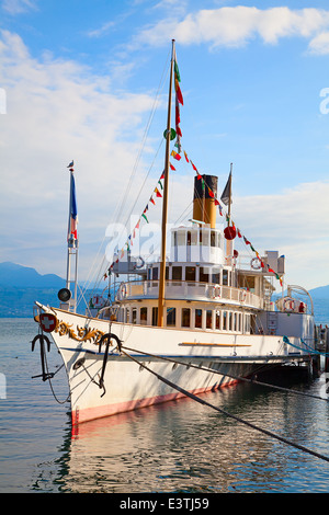 Vintage steam boat at the pier on lake Leman(Genaeva lake) - Stock Photo