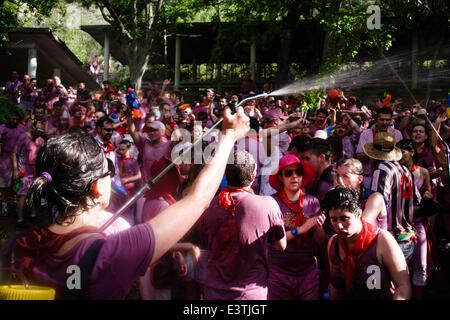 Riscos de Bilibio, Haro, La Rioja, Spain. 29 June 2014. Revellers at Haro Wine Battle held annually on St Peter's - Stock Photo