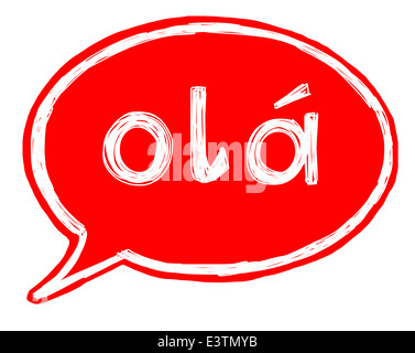 Illustration of a speech bubble with the word hello in Portuguese - Stock Photo