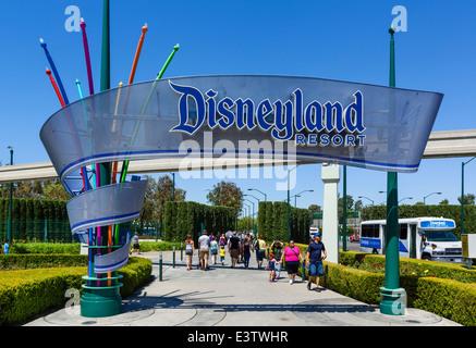Entrance to Disneyland Resort, Anaheim, Orange County, near Los Angeles, California, USA - Stock Photo