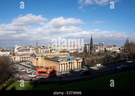 View of the Scottish National Gallery from above, Edinburgh - Stock Photo