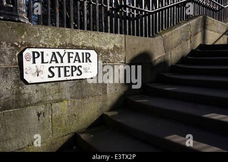 Playfair Steps in Edinburgh, Scotland - Stock Photo