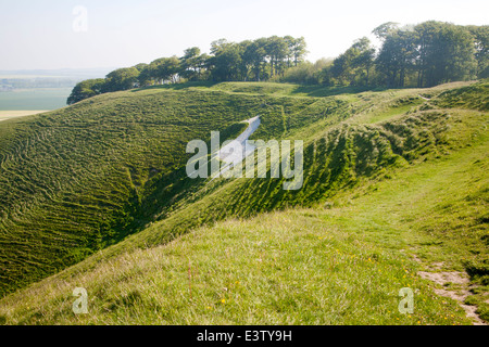 White horse in chalk scarp slope Cherhill, Wiltshire, England dating form 1780 - Stock Photo