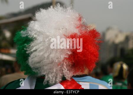 Rio de Janeiro, Brazil. 29th June, 2014. 2014 FIFA World Cup Brazil. Mexico fan arriving at the FIFA Fan Fest in - Stock Photo