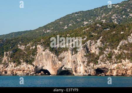 The Bue Marino caves entrance on the coast of Cala Gonone, Dorgali,Orosei gulf,Sardinia,Italy - Stock Photo