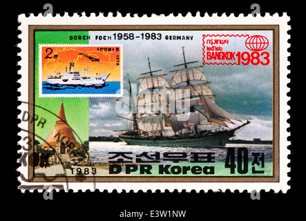 Postage stamp from North Korea depicting the Gorch Foch sailing ship - Stock Photo