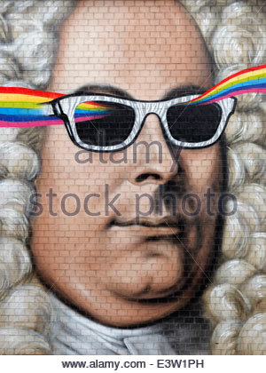 portrait of George Frideric Handel (1685-1759) as a wall graffito in Halle (Saale) the native city of the Baroque - Stock Photo