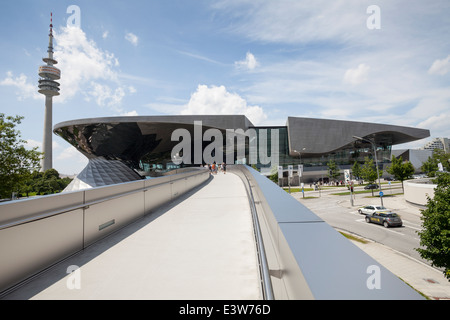 BMW Welt or BMW World with the Olympic Tower, Munich, Upper Bavaria, Bavaria, Germany, Europe - Stock Photo