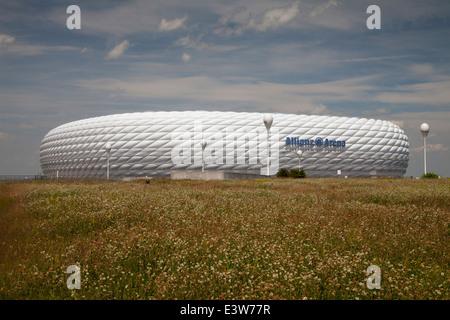 Allianz Arena, football stadium, Munich, Upper Bavaria, Bavaria, Germany, Europe - Stock Photo