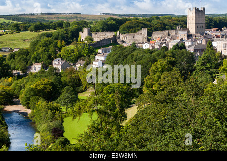 Richmond North Yorkshire  scene showing the Castle, Town, River Swale and The Batts - Stock Photo