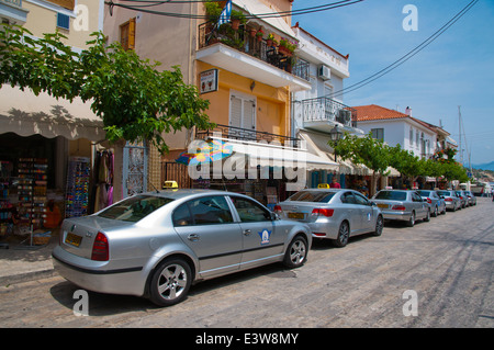Taxis, Logotheti main street, Pythagoreio, Samos island,  Greece, Europe - Stock Photo
