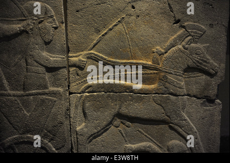 Orthostat with relief depicting a war chariot. 9th century BC. Basalt. Late Hitite Period. From Citadel gate, Sam'al - Stock Photo