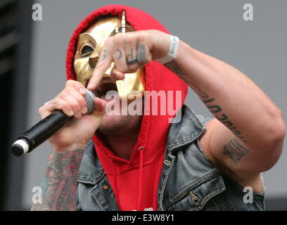 ITAR-TASS: ST. PETERSBURG, RUSSIA. JUNE 29, 2014. Danny of Hollywood Undead performs onstage during the Tuborg Greenfest - Stock Photo