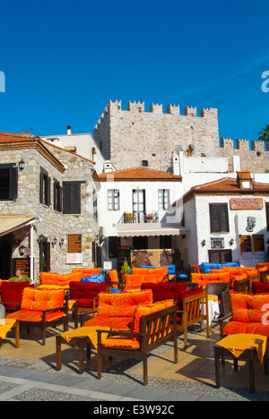 Bar cafe terraces, Barbaros street near the castle and Bar street, Marmaris, Mugla province, Turkey, Asia Minor - Stock Photo