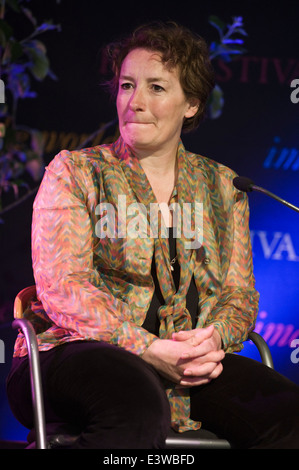 Juliet Davenport CEO & founder of Good Energy in Energy Revolution discussion at Hay Festival 2014. - Stock Photo