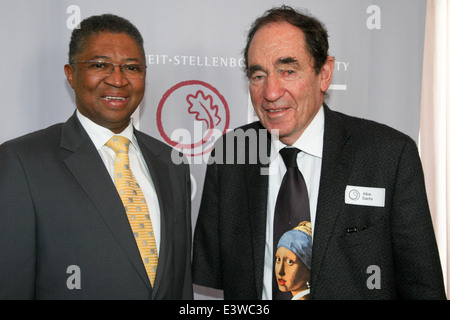 Professor Russel Botman, Rector and Vice Chancellor of the University of Stellenbosch, with Judge Alnie Sachs, - Stock Photo