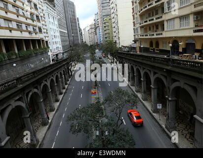 Porto Alegre, Brazil. 30th June, 2014. Looking up a street in the city of Porto Alegre. © Valery Sharifulin/ITAR - Stock Photo