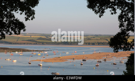 The Camel estuary in north Cornwall, seen from above Rock on the north -east shore - Stock Photo