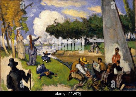 Paul Cézanne - The Fishermen (Fantastic Scene) - 1875 - MET Museum - New-York - Stock Photo