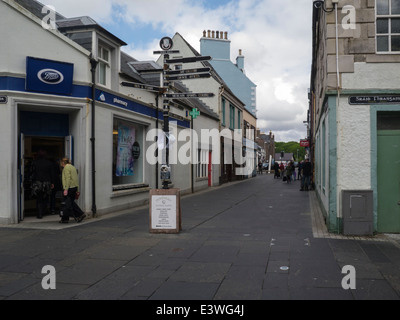 Looking down Cromwell Street town centre Stornoway Isle of Lewis Outer Hebrides Scottish Highlands - Stock Photo