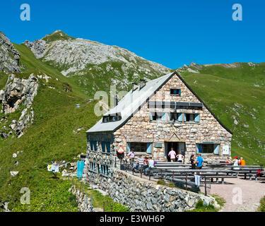 Pfälzerhütte, mountain refuge of the Liechtenstein Alpine Club, LAV, Bettlerjoch saddle, Rätikon - Stock Photo