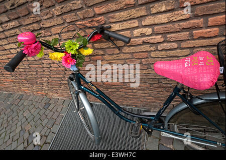 Bike decorated with flowers leaning against a wall, Münster, Münsterland, North Rhine-Westphalia, Germany - Stock Photo