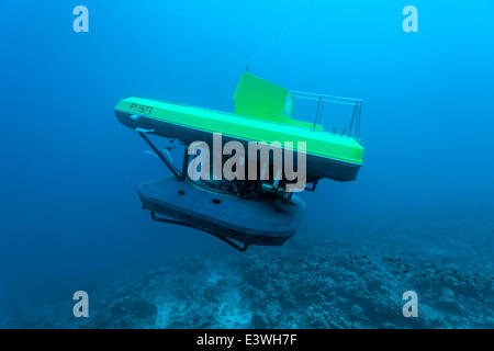 Submarine with tourists, dive at a coral reef, Bora Bora, Leeward Islands, Society Islands, French Polynesia, France - Stock Photo