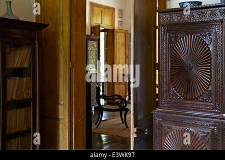 View into drawing room in La Maison Creole a French colonial house also known as Eureka or house of 109 doors in - Stock Photo