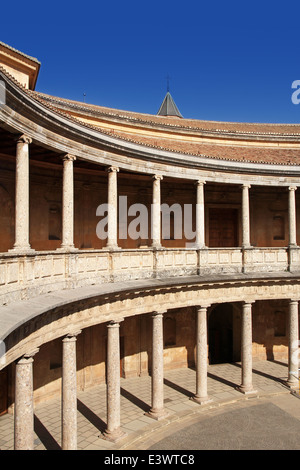courtyard of the Palace of Charles V in La Alhambra, Granada, Spain - Stock Photo