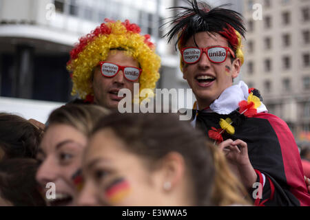 Porto Alegre, Brazil. 30th June, 2014. Supporters of Germany wait to watch a Round of 16 match between Germany and - Stock Photo