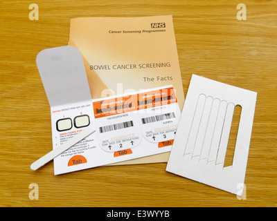 Slide test for faecal occult blood mass screening for bowel cancer in UK. Operated by immunostics inc hema-screen - Stock Photo