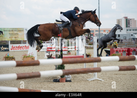 Henrich Mock SVK on horse Jopas jumps over hurdle on Rozalka Cup 2014 on July 29, 2014 in Pezinok, Slovakia - Stock Photo