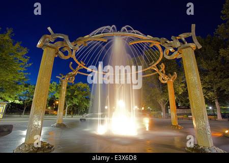 USA, Washington, Spokane, Riverfront Park, Rotary Fountain - Stock Photo
