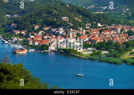 Townscape of Skradin, River Krka, Dalmatia, Croatia - Stock Photo