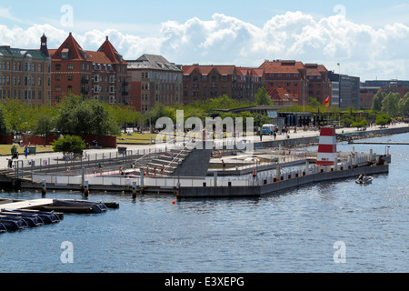 The Copenhagen Harbour Bath at Islands Brygge in the inner harbour  of Copenhagen on a summer day seen from the - Stock Photo