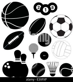 series of black illustrations of sports balls - Stock Photo