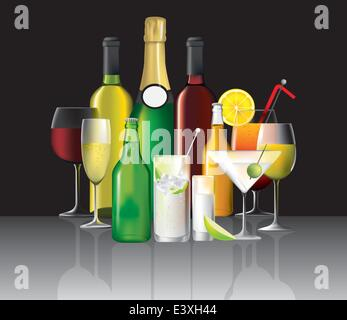 wine, cocktails and short drinks on black, vector illustration - Stock Photo