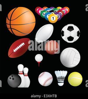 detailed set of sports ball on black background - Stock Photo