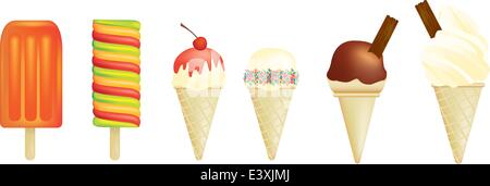 Vector illustration of a set of ice creams and lolly - Stock Photo