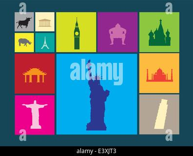 world famous landmarks as icon or button designs in colour on colour flat backgrounds - Stock Photo