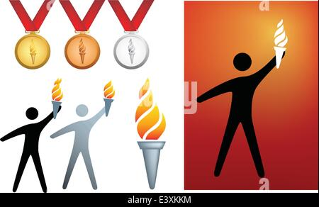olympic series of icons and symbols of flame and medals - Stock Photo