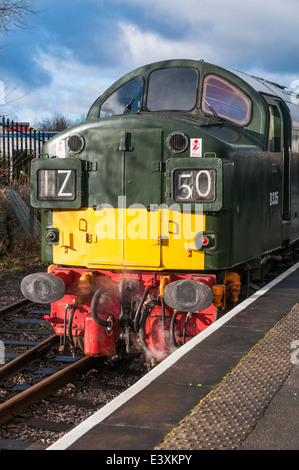 English Electric Class 40 diesel loco D335 standing in the platform at Heywood station on the East Lancs Railway. - Stock Photo